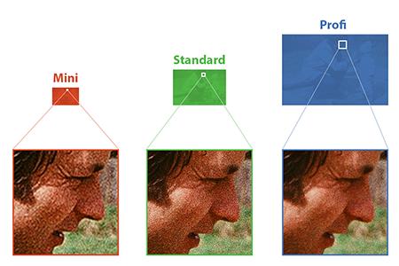Porovnání zachycení detailů při skenování v rozlišeních Mini, Standard a Profi
